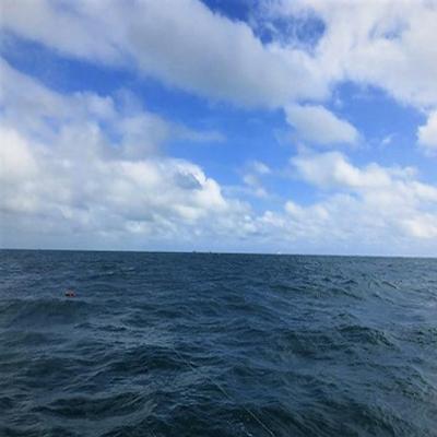 Imagem com vista para o Oceano Atlântico na parte inferior com pequenas ondas e na parte superior o céu azul com nuvens brancas