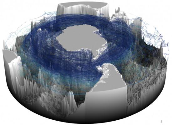 A figura mostra um modelo tridimensional do Oceano Austral com o continente antártico e toda sua topografia de fundo em branco e com as águas de ressurgência ao redor do continente antártico marcadas de azul.