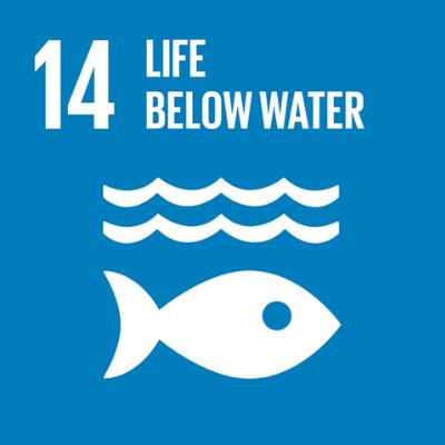 Com fundo azul e ícone branco de um peixe nadando para o lado esquerdo. Acima do peixe, há, em branco, ícone de ondas. Escrito de branco: 14 Life Below Water (Traduzido do inglês: vida debaixo d'água).