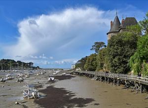 Foto mostrando uma marina com maré baixa, em que muitos barcos estão atolados no substrato. Do lado direito, há o cais, uma casa e algumas árvores.