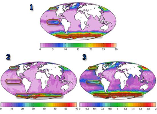 Três imagens de satélite demarcadas numericamente destacando a concentração média dos nutrientes nitrato, silicato e fosfato, respectivamente na superfície do mar com legenda de cores da menor concentração, representado pelo lilás, até a maior concentração, representado pelo vermelho. Também há retângulos arrendondados localizando as zonas HNLC nas três imagens. Na região do continente antártico destaca-se altas concentrações de nitrato, fosfato e silicato e na região do Oceano Pacífico equatorial e norte destaca-se altas concentrações de fosfato e nitrato.