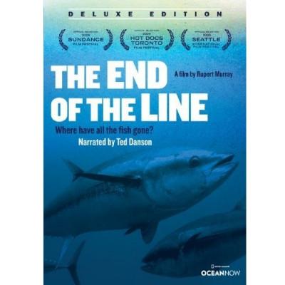 Foto do documentário The End of the Line. São apresentadas algumas informações em escrito e na parte inferior há a foto de peixes.