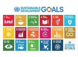 Objetivos de Desenvolvimento Sustentável da ONU.  1 - Erradicação da pobreza; 2 - Fome zero e agricultura sustentável; 3 - Saúde e bem-estar; 4 - Educação de qualidade; 5 - Igualdade de gênero; 6 - Água potável e saneamento; 7 - Energia limpa e acessível; 8 - Trabalho decente e crescimento econômico; 9 - Indústria,inovação e infraestrutura; 10 - Redução das desigualdades; 11 - Cidades e comunidades sustentáveis; 12 - Consumo e produção sustentáveis; 13 - Ação contra a mudança global do clima; 14 - Vida na água; 15 - Vida terrestre; 16 - Paz, justiça e instituições eficazes; 17 -Parcerias e meios de implementação.