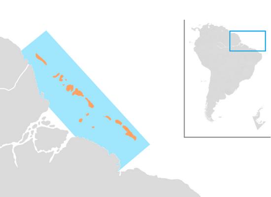 A ilustração mostra um mapa dividido em duas áreas, no canto superior direito mostra-se o país Brasil com quadrado marcando a área norte onde se encontram os corais da amazônia. No lado esquerdo da imagem, vê-se ampliada a região destacada com marcação da distribuição dos corais da amazônia desde a Guiana Francesa até o Maranhão.
