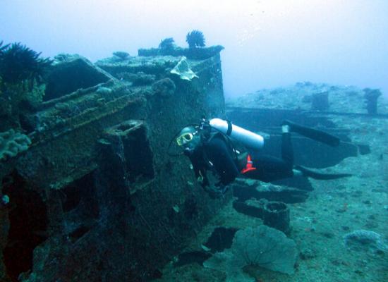Foto de um mergulhador que se encontra próximo de uma embarcação afundada, que já possui alguns corais assentados nela. O mergulhador está na parte direita da imagem, olhando para a embarcação à esquerda.