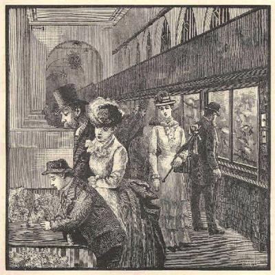 Ilustração em preto e branco. Ela retrata uma exposição no Aquário de Londres, onde diversas pessoas observam diferentes animais marinhos em aquários. Existem diversos aquários espalhados pelo local.