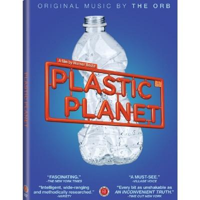 Foto do documentário Plastic Planet com o fundo azul e uma garrafa de plastico amassada.