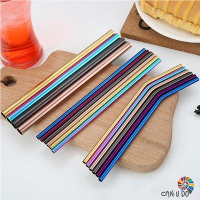 Foto com canudos metálicos coloridos da empresa Can.u.do