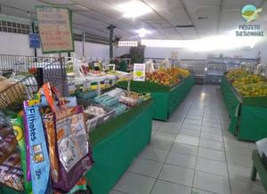 Imagem de um mercado de ovos, frutas e verduras dispostas em balcões e no canto esquerdo inferior a imagem das sacolas retornáveis feitas de sacos de ração expostas para venda.