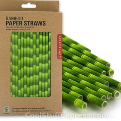 Foto ilustrando os canudos de bambu. Do lado esquerdo há uma caixa de papelão com canudos verdes dentro e do lado direito, alguns canudos dispostos na forma horizontal.