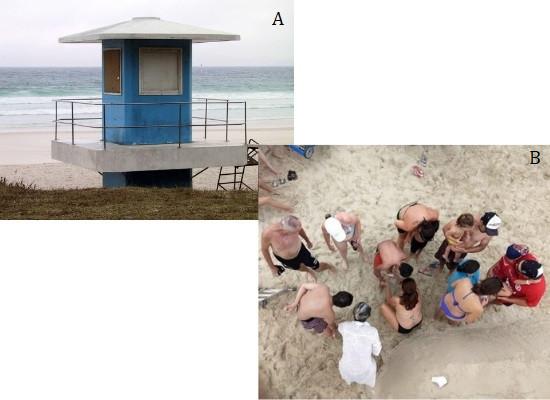 A imagem a esquerda mostra um posto de salva vidas da cor azul, ao fundo temos o oceano. Na imagem a direita mostra um grupo de banhistas esperando para serem atendidos pelos salva-vidas na praia.