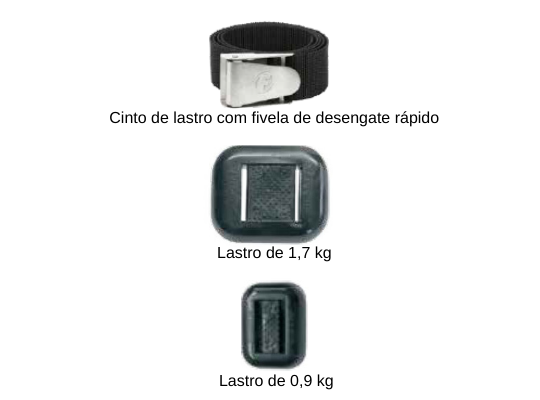 Fotografia em fundo branco de três partes que compõem um sistema de lastreamento. Cinto de tecido com fivela de desengate rápido, e as popularmente chamadas pedras de lastro, de 1,7 kg e 0,9 kg que são adicionados ao cinto.