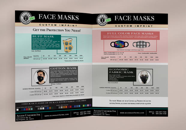 Access Uniforms INK! Facemask Brochure
