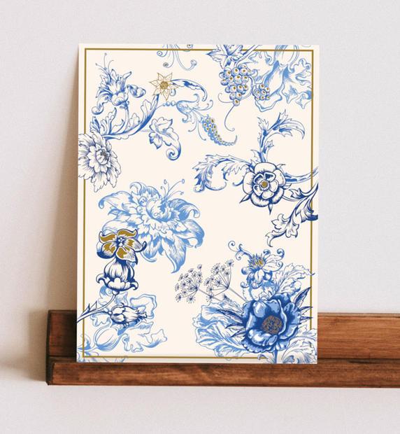 Floral in Blues & Gold Leaf