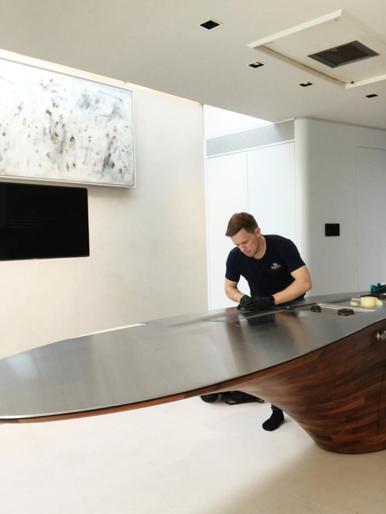 kitchen island worktop- during
