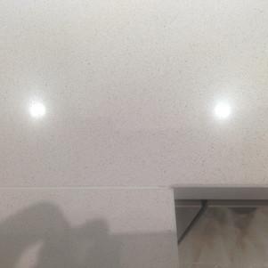 Scratched White Quartz Worktop- Repaired