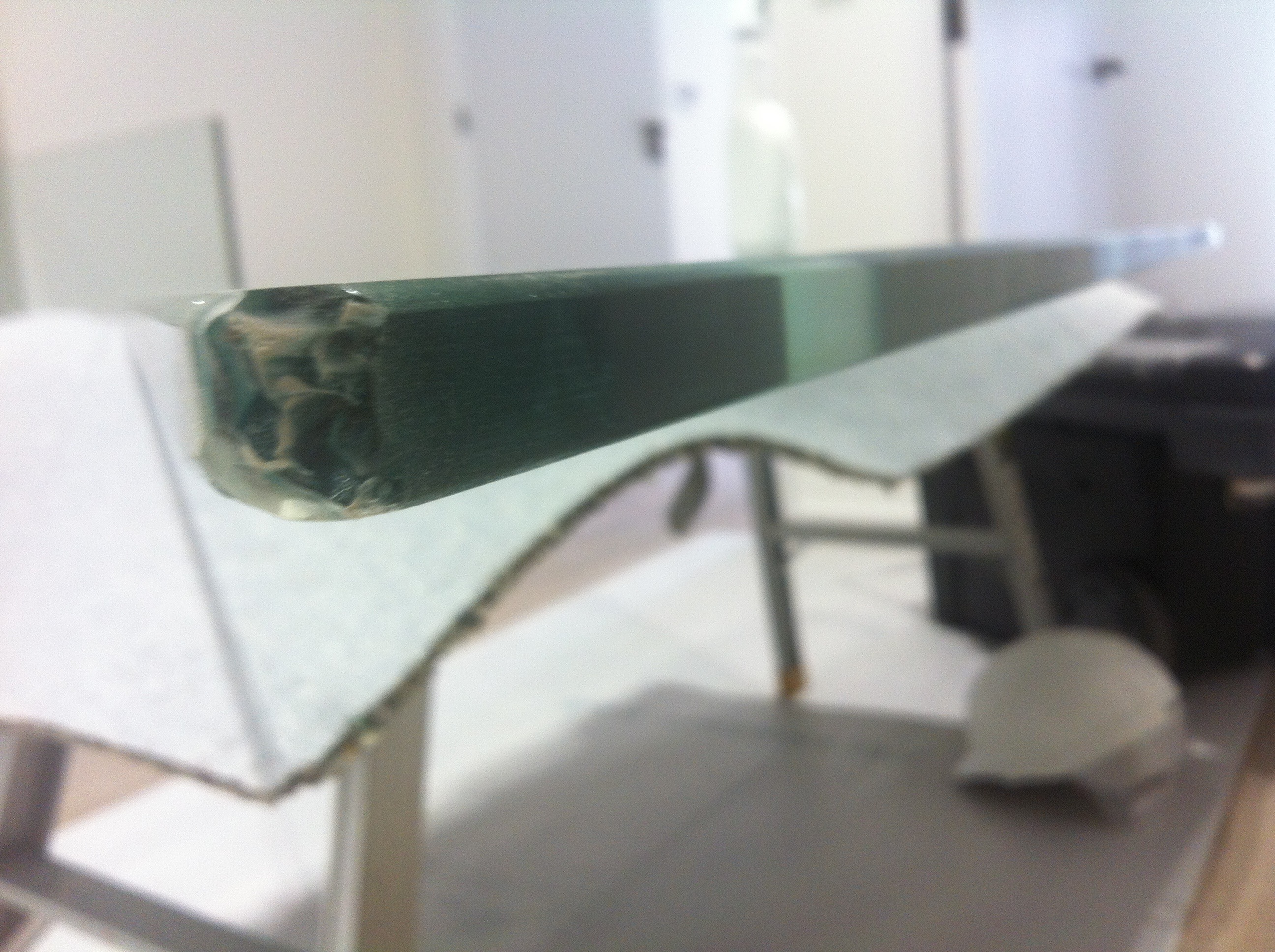 Chipped glass table- Before
