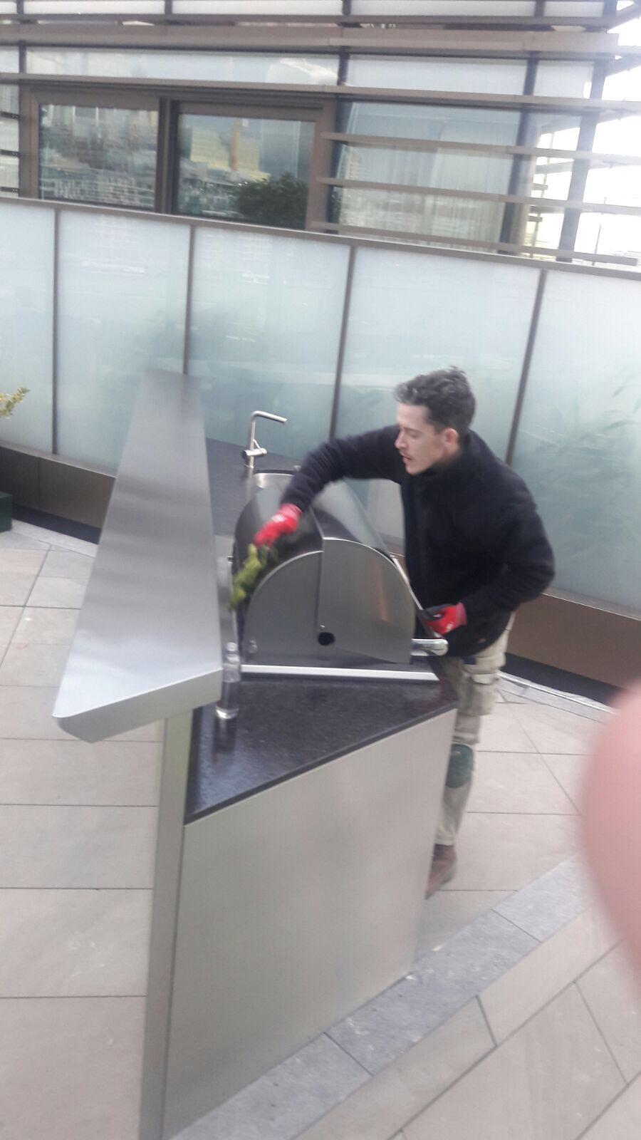 Outdoor kitchen- cooker hood- during
