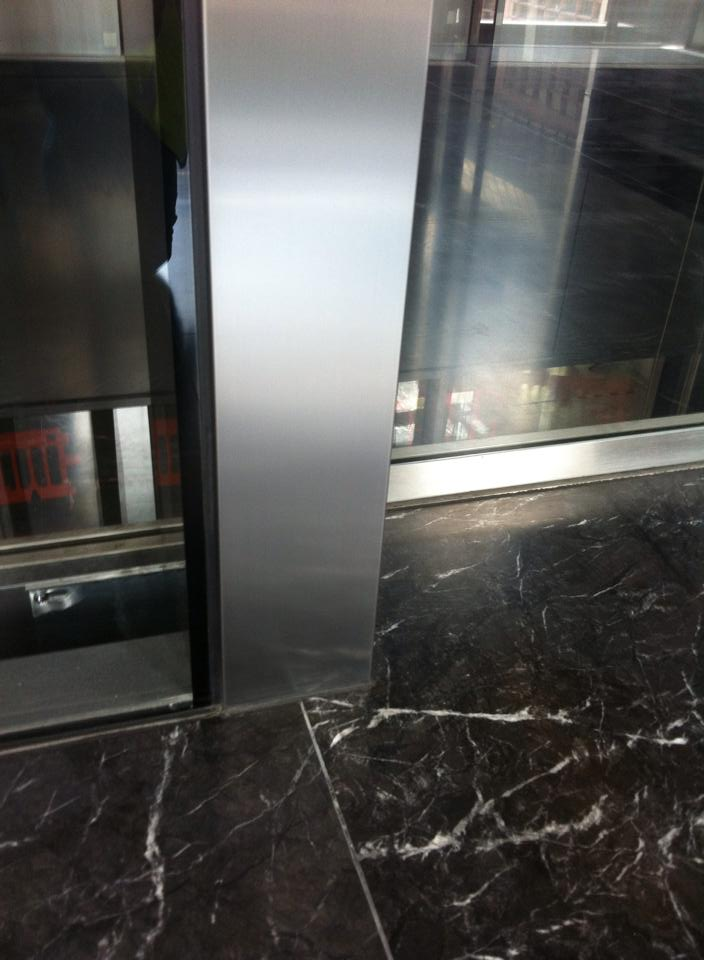 Damaged surround of lift- After