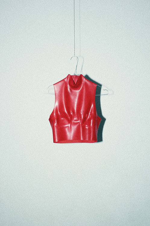 Translucent Red Bustier Top