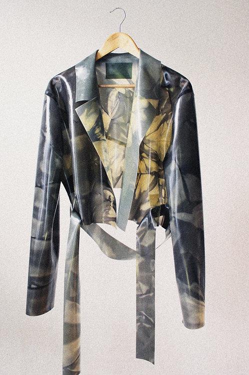 Shibori Marble Cropped Biker Jacket
