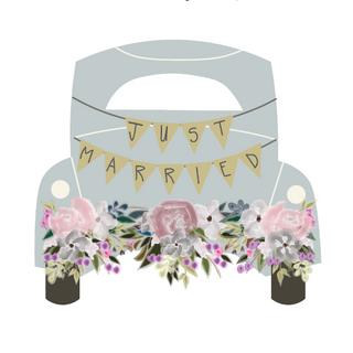 """""""Just Married"""" Illustration for Signage & Napkins"""