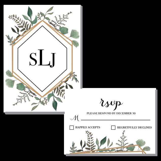 Succulent/Terrarium Monogram & RSVP Card