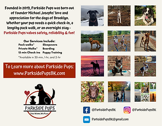 Back cover of calendar including brief description of Parkside Pups and sample of images included in calendar
