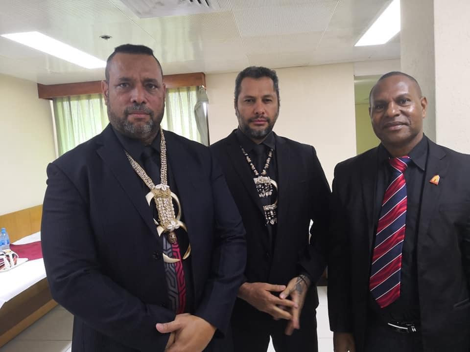 Caption: L–R: East Sepik Province Governor Allan Bird, Oro Governor Gary Juffa, Angoram MP Salio Waipo wearing black to raise awareness on ending violence against women (Photo credit: Namorong Report)