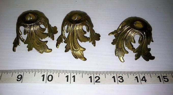 Set of 3 Cast Brass Light Fixture Fittings