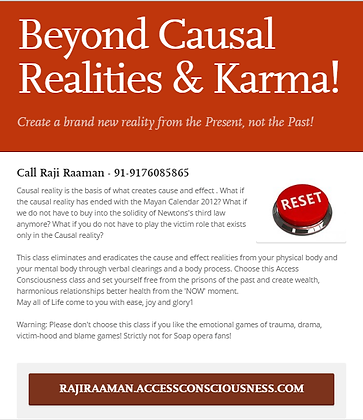 Beyond Causal Realities & Karma