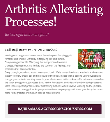 Arthritis alleviating processes