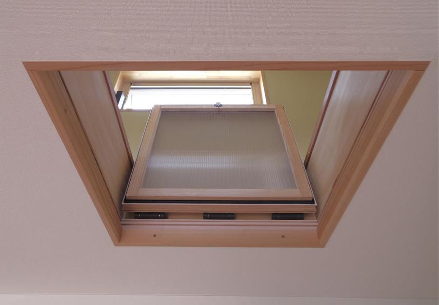 夏の通風用天井断熱採光窓