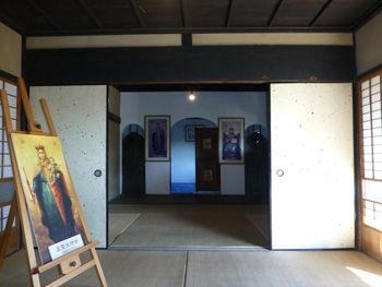 旧手賀教会堂内観 畳とふすまの教会堂です