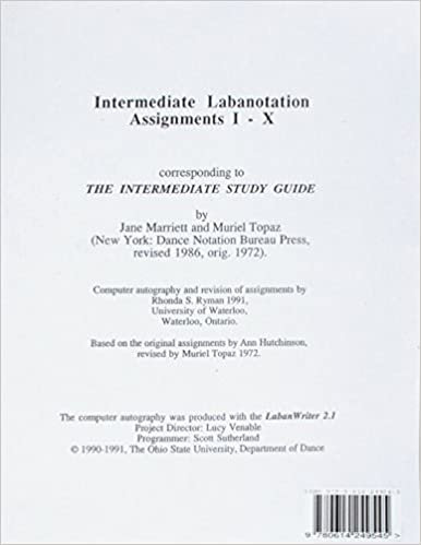 Intermediate Labanotation Assignments I-X