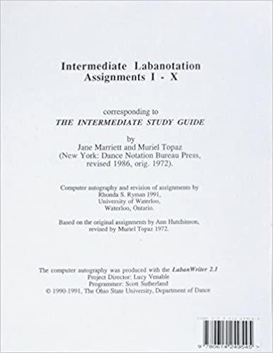 Intermediate Labanotation Assignments I-X