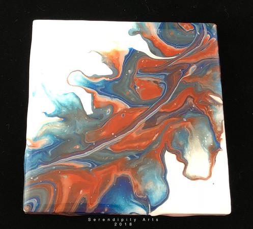 Set of 4 fluid art coasters