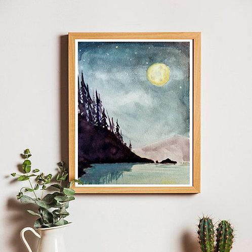 Night Lake | Original Watercolor | 5x7