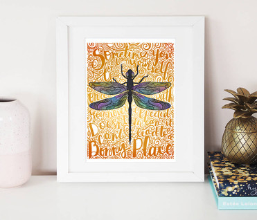 Dragonfly in Amber | Giclee Art Pring