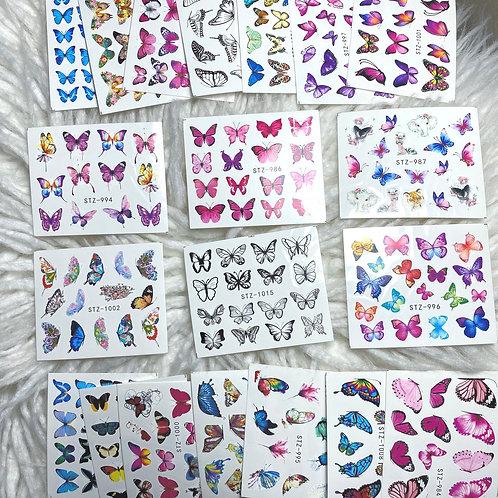 Glam Nail Decals - Waterslide Butterflies 🦋