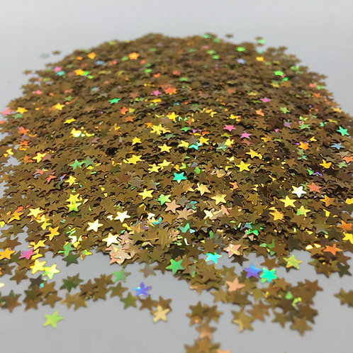 Glam Glitter- Extra Gold Holo - 3mm Stars