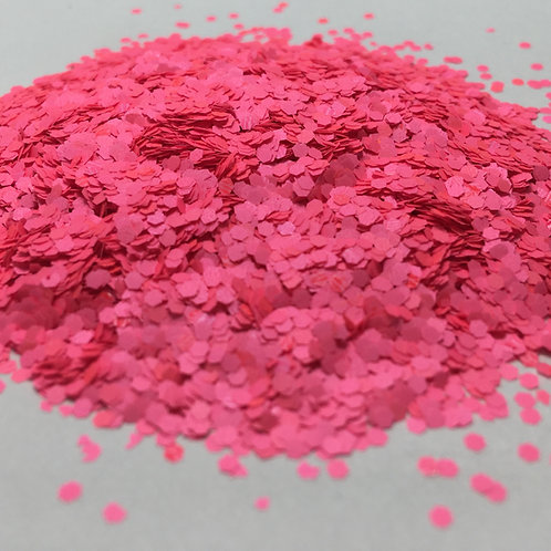 Glam Glitter- Neon Matte Rose 1/16 Hex