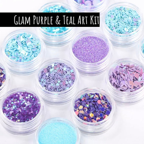 Glam Purple & Teal Art Kit (12 Jars)
