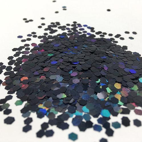 Glam Glitter - Black Holo - 1/8 Hex