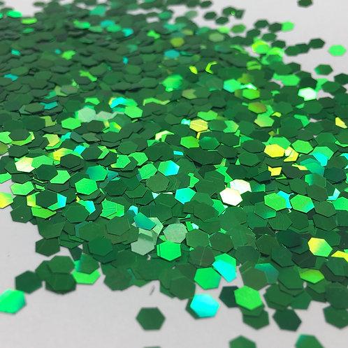 Glam Glitter- True Green 1/8 Hex