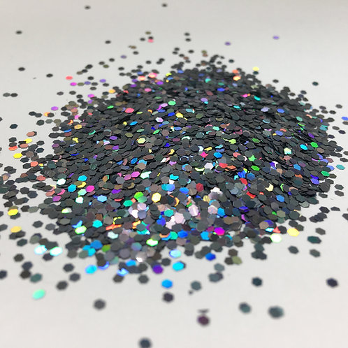 Glam Glitter - Holo Graphite - 1/16 Hex