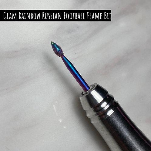 Glam Rainbow Coated Russian Diamond Bits - Russian Football Flame Bit