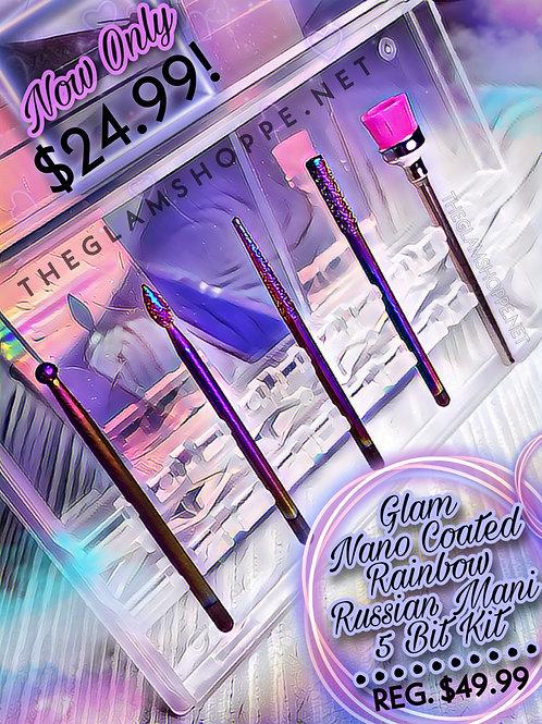New! Glam Rainbow Coated Diamond Russian Mani Set with Case | 5 Bits + Case