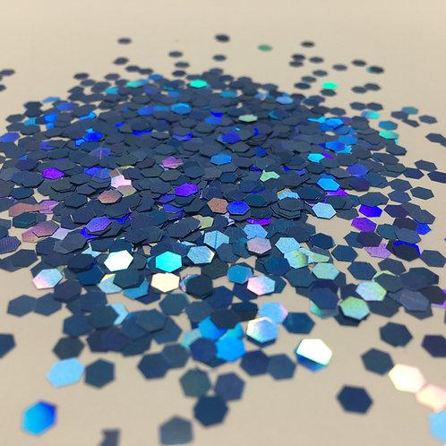 Glam Glitter- Deep Cyan 1/8 Hex