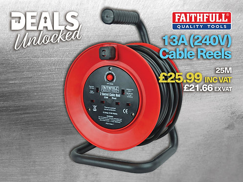Faithfull Cable Reel, 240V, 25m Excluding VAT